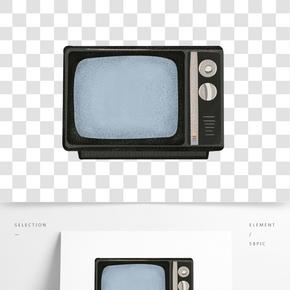 卡通黑色電視機插畫