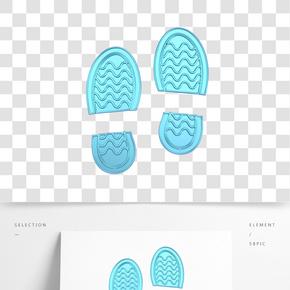 C4D青色金屬質感立體腳印裝飾