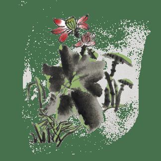 夏季水墨风荷花荷叶手绘插画