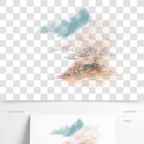 水墨遠山裝飾插畫