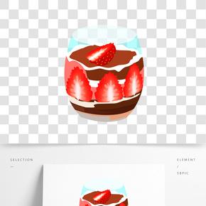 情人節草莓甜點蛋糕插畫