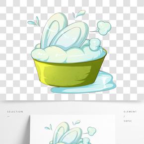 世界衛生日洗盤子插畫