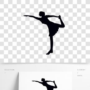 矢量舞蹈班跳舞女孩剪影