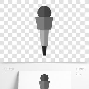 卡通灰色話筒插畫