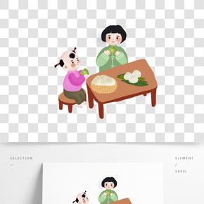 吃粽子小孩人物png素材