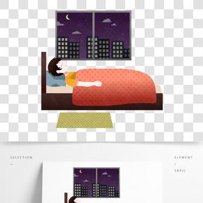夜晚躺床上睡觉的男孩插画