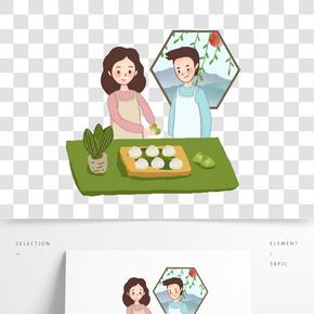 吃粽子男孩女孩png素材