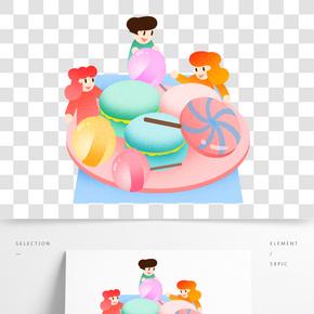 六一兒童吃零食插畫