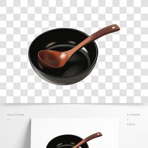 一支放在黑碗里的木勺