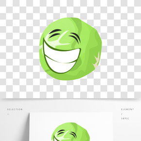 绿色包菜立体笑脸