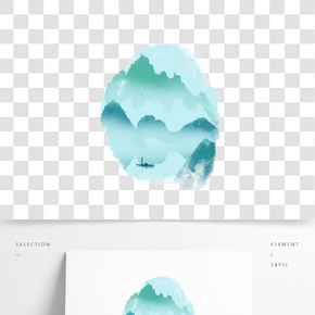 中國風水墨海報裝飾免扣素材