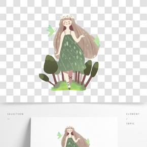 綠色系夢幻插畫png