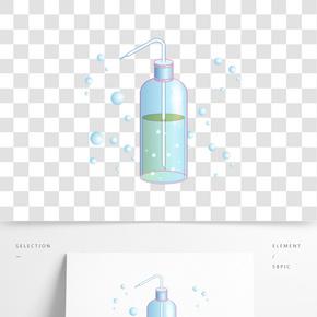 藍色瓶裝洗手液插畫