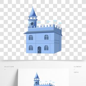 歐洲藍色城堡插畫