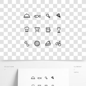 簡約線性披薩圖標icon小元素