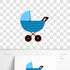可愛藍色嬰兒車插畫