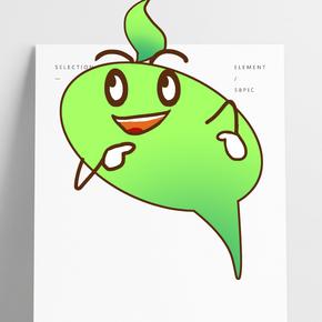 綠色氣泡卡通插畫