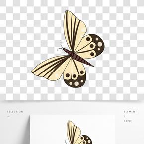 淡黃色蝴蝶卡通插畫