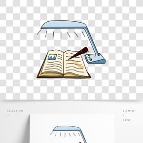 夜晚看书的卡通插画