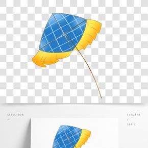 黃色邊緣風箏插畫