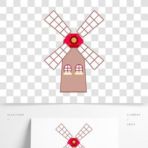 方格的風車建筑插畫