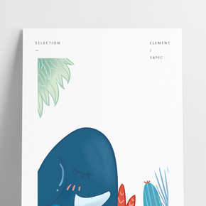 大象動物母子插畫