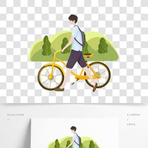 春游踏青自行車插畫