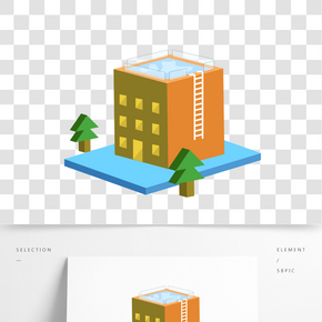 2.5D建筑泳池高檔辦公大樓