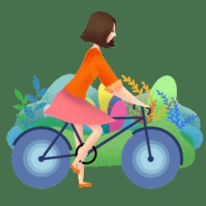 骑车的小女孩插画