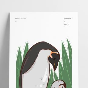 動物母子企鵝母子