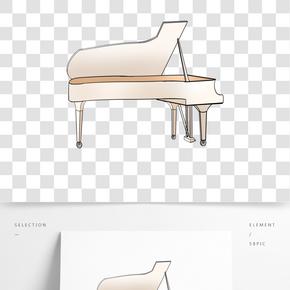 白色的鋼琴裝飾插畫