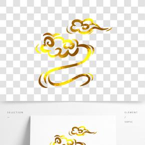 中國風傳統燙金花紋祥云插畫