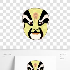 世界京劇日黃色臉譜插畫