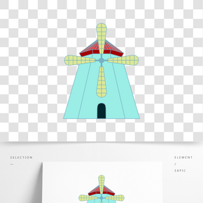 創意卡通風車插畫