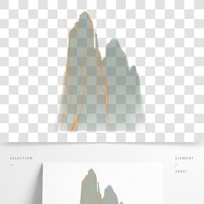 灰色創意紋理遠山元素