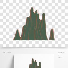 灰色紋理創意遠山元素