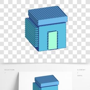 藍色房子建筑插畫