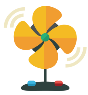 黄色电风扇装饰插画