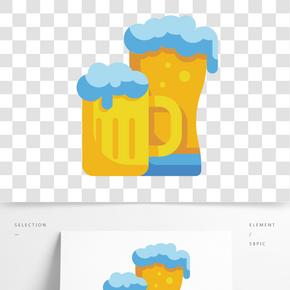 藍色泡沫啤酒杯插畫