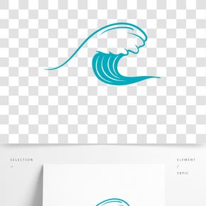綠色大海波浪插畫