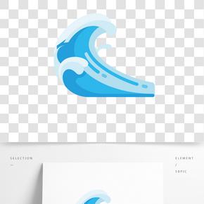 藍色大海浪花插畫