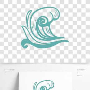 綠色波浪花紋插畫