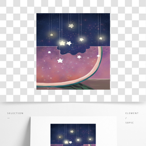 夜晚插画星空背景png素材