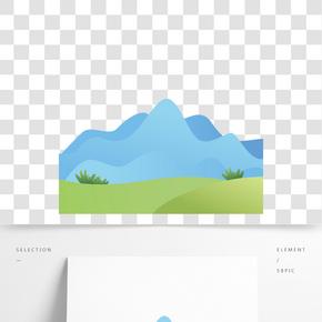 藍色創意遠山風景元素
