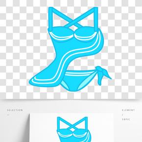 藍色波浪泳裝插畫