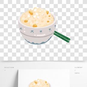 小吃炒飯卡通插畫