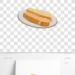 甜點長條面包插畫