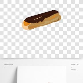 巧克力烘焙面包插畫