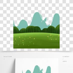 綠色遠山風景裝飾元素