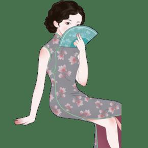 灰色创意穿旗袍的女士元素